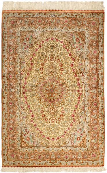 Ghom Silke Teppe 102X152 Ekte Orientalsk Håndknyttet Mørk Beige/Lysbrun/Brun (Silke, Persia/Iran)