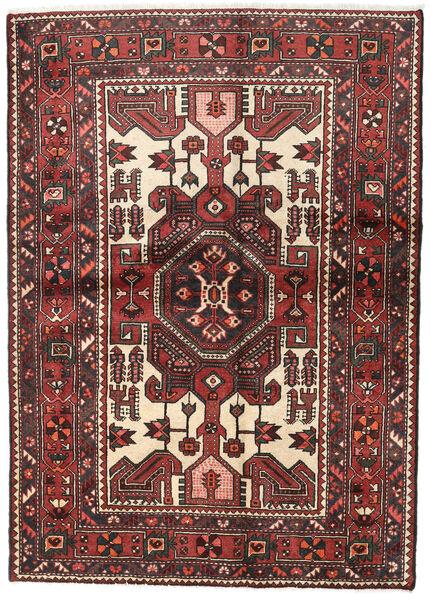 Hamadan Teppe 140X194 Ekte Orientalsk Håndknyttet Mørk Rød/Svart (Ull, Persia/Iran)