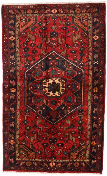 Hamadan Teppe 136X218 Ekte Orientalsk Håndknyttet Mørk Rød/Svart (Ull, Persia/Iran)