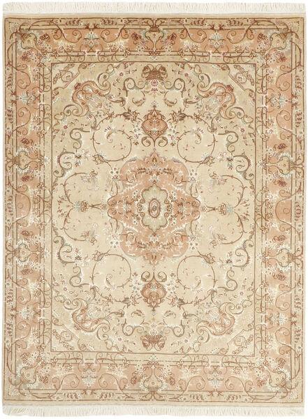 Tabriz 50 Raj Teppe 151X197 Ekte Orientalsk Håndvevd Beige/Mørk Beige (Ull/Silke, Persia/Iran)