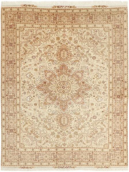 Tabriz 50 Raj Teppe 152X202 Ekte Orientalsk Håndvevd Beige/Mørk Beige (Ull/Silke, Persia/Iran)