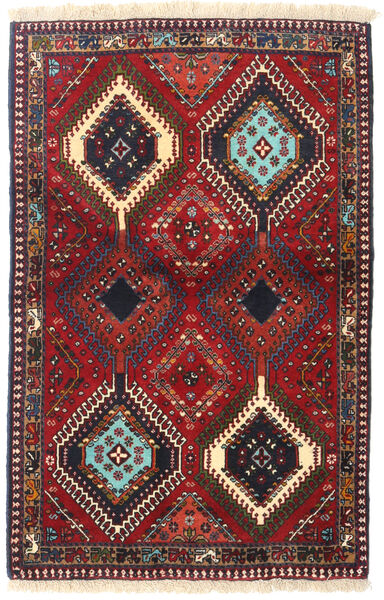 Yalameh Teppe 84X130 Ekte Orientalsk Håndknyttet Mørk Rød/Mørk Brun (Ull, Persia/Iran)