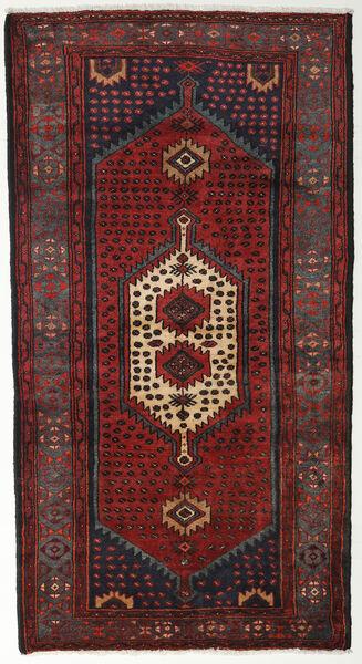 Hamadan Teppe 105X194 Ekte Orientalsk Håndknyttet Mørk Rød/Svart (Ull, Persia/Iran)