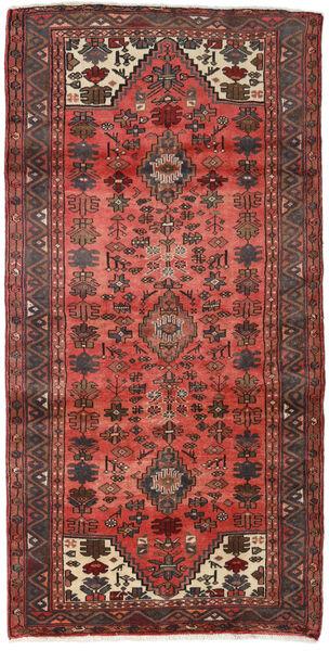 Hamadan Teppe 100X200 Ekte Orientalsk Håndknyttet Mørk Brun/Mørk Rød (Ull, Persia/Iran)