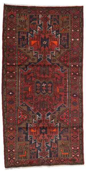 Hamadan Teppe 100X199 Ekte Orientalsk Håndknyttet Mørk Rød/Mørk Brun (Ull, Persia/Iran)