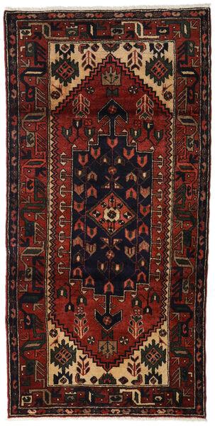 Hamadan Teppe 98X195 Ekte Orientalsk Håndknyttet Mørk Brun/Mørk Rød (Ull, Persia/Iran)
