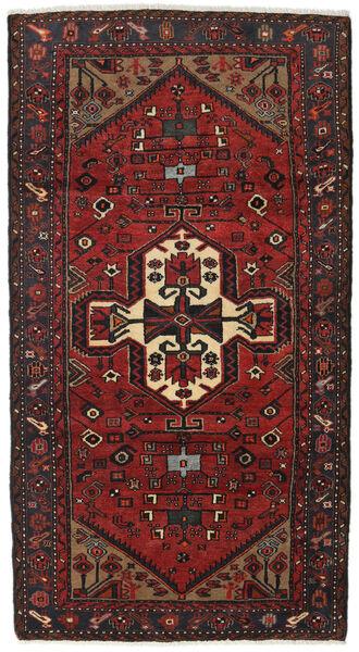Hamadan Teppe 105X195 Ekte Orientalsk Håndknyttet Mørk Rød/Svart (Ull, Persia/Iran)