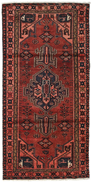 Hamadan Teppe 104X211 Ekte Orientalsk Håndknyttet Mørk Rød/Mørk Brun (Ull, Persia/Iran)