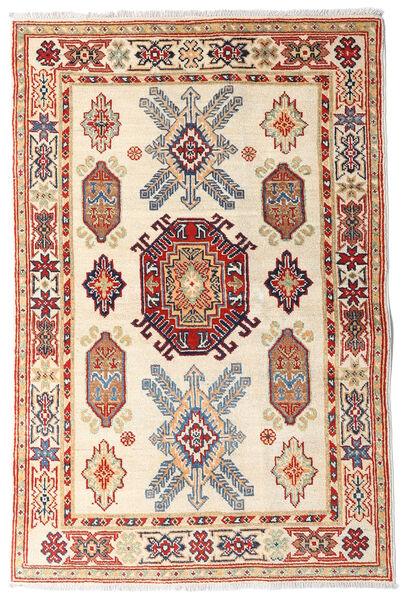Kazak Teppe 97X147 Ekte Orientalsk Håndknyttet Beige/Mørk Brun (Ull, Afghanistan)