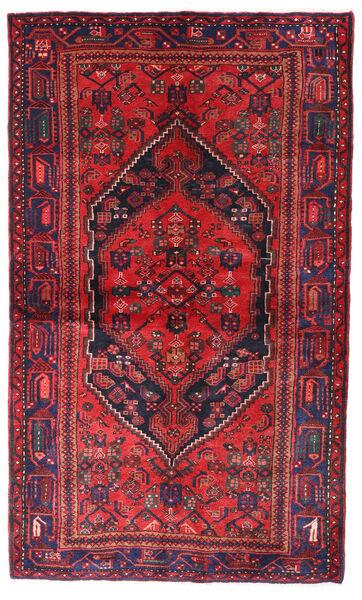 Hamadan Teppe 140X236 Ekte Orientalsk Håndknyttet Rød/Mørk Lilla (Ull, Persia/Iran)