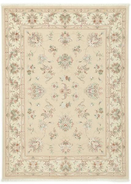 Tabriz 40 Raj Teppe 150X205 Ekte Orientalsk Håndknyttet Beige/Mørk Beige (Ull/Silke, Persia/Iran)