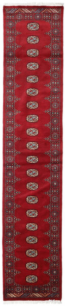 Pakistan Bokhara 3Ply Teppe 75X376 Ekte Orientalsk Håndknyttet Teppeløpere Rød/Mørk Rød (Ull, Pakistan)