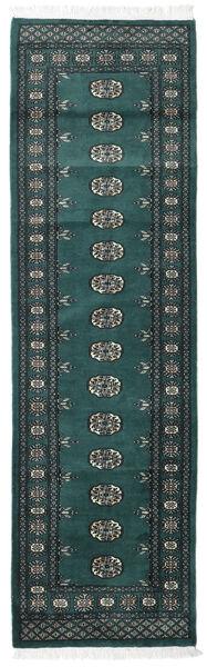 Pakistan Bokhara 2Ply Teppe 76X254 Ekte Orientalsk Håndknyttet Teppeløpere Mørk Grønn/Mørk Blå/Mørk Turkis (Ull, Pakistan)