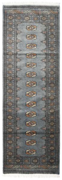 Pakistan Bokhara 3Ply Teppe 78X234 Ekte Orientalsk Håndknyttet Teppeløpere Mørk Grå/Blå (Ull, Pakistan)