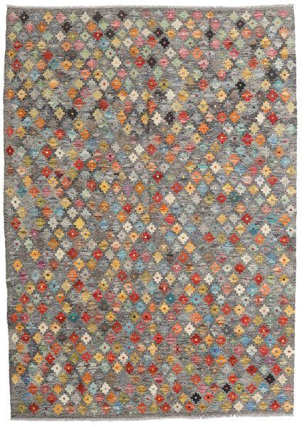 Kelim Afghan Old Style Teppe 130X185 Ekte Orientalsk Håndvevd Lys Grå/Mørk Grå (Ull, Afghanistan)
