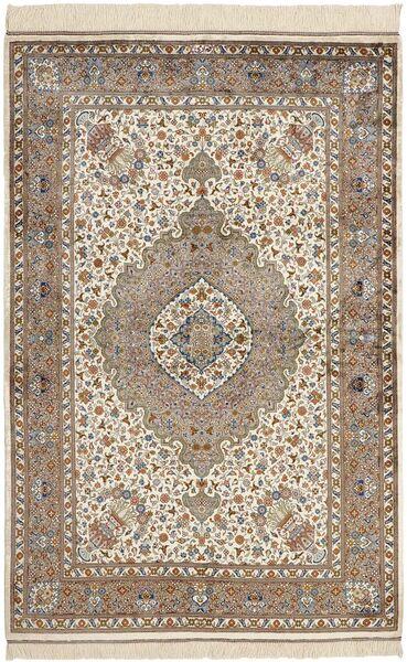 Ghom Silke Teppe 100X152 Ekte Orientalsk Håndknyttet Lys Grå/Mørk Brun (Silke, Persia/Iran)