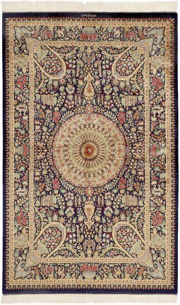 Ghom Silke Teppe 99X157 Ekte Orientalsk Håndknyttet Mørk Brun/Brun (Silke, Persia/Iran)