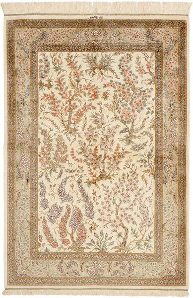 Ghom Silke Teppe 100X148 Ekte Orientalsk Håndknyttet Beige/Lysbrun (Silke, Persia/Iran)