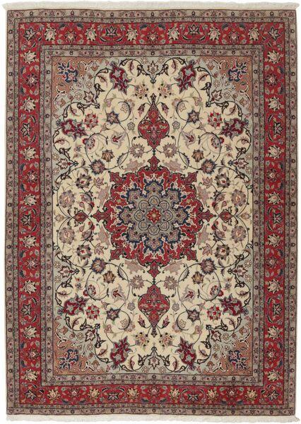 Tabriz 50 Raj Teppe 155X211 Ekte Orientalsk Håndknyttet Lys Grå/Mørk Rød (Ull/Silke, Persia/Iran)