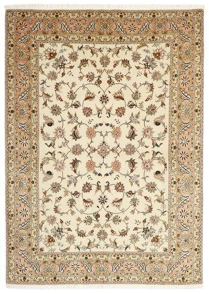 Tabriz 50 Raj Teppe 147X206 Ekte Orientalsk Håndknyttet Beige/Lysbrun (Ull/Silke, Persia/Iran)
