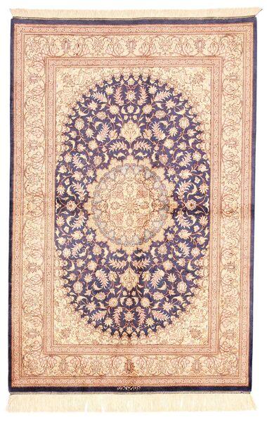 Ghom Silke Teppe 100X150 Ekte Orientalsk Håndknyttet Beige/Lyserosa (Silke, Persia/Iran)