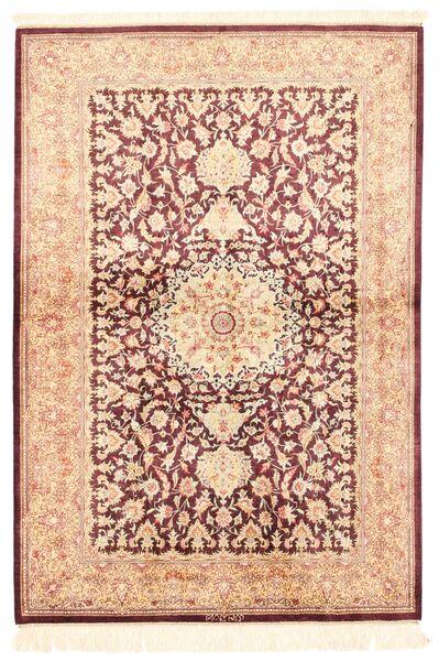 Ghom Silke Teppe 100X143 Ekte Orientalsk Håndknyttet Beige/Lyserosa/Mørk Rød (Silke, Persia/Iran)