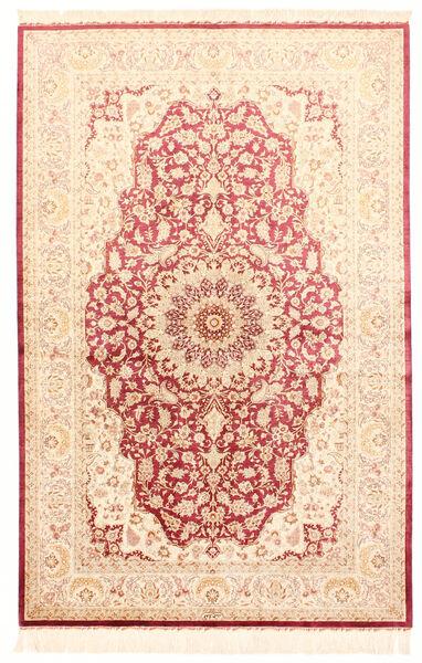 Ghom Silke Teppe 132X201 Ekte Orientalsk Håndknyttet Beige/Lyserosa (Silke, Persia/Iran)