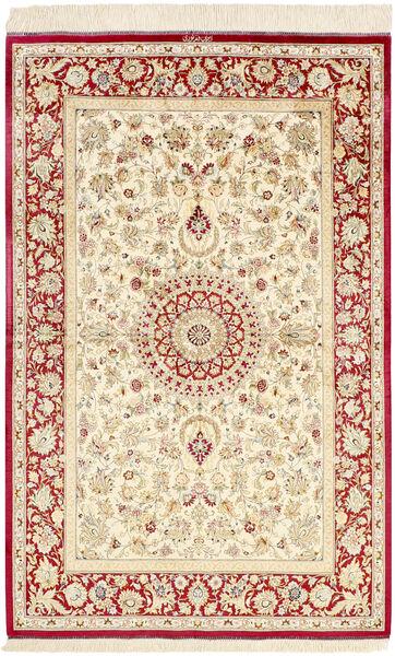 Ghom Silke Teppe 98X155 Ekte Orientalsk Håndknyttet Beige/Gul (Silke, Persia/Iran)