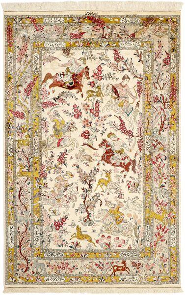 Ghom Silke Teppe 131X203 Ekte Orientalsk Håndknyttet Beige/Brun (Silke, Persia/Iran)