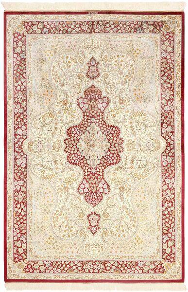 Ghom Silke Teppe 134X203 Ekte Orientalsk Håndknyttet Beige/Lyserosa (Silke, Persia/Iran)