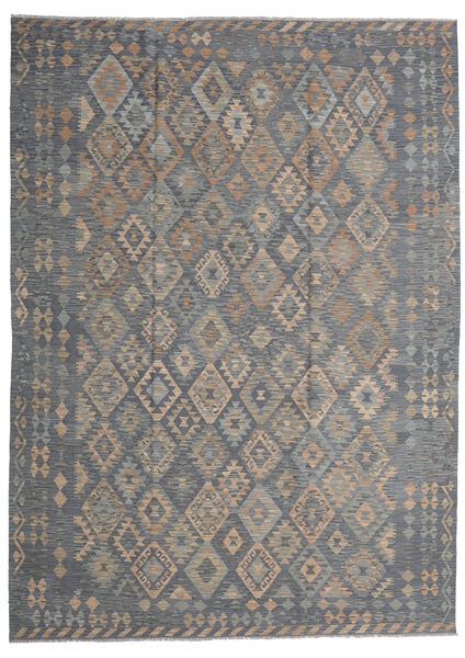 Kelim Afghan Old Style Teppe 249X348 Ekte Orientalsk Håndvevd Mørk Grå/Lys Grå (Ull, Afghanistan)
