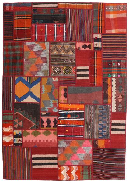 Tekkeh Kelim Teppe 141X203 Ekte Moderne Håndvevd Mørk Rød/Mørk Brun (Ull, Persia/Iran)