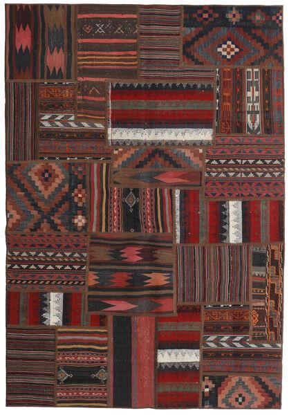 Tekkeh Kelim Teppe 138X201 Ekte Moderne Håndvevd Mørk Brun/Svart/Mørk Rød (Ull, Persia/Iran)