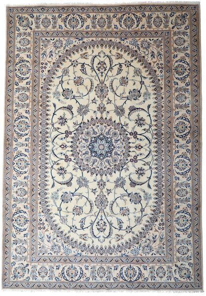 Nain Teppe 245X353 Ekte Orientalsk Håndknyttet Lys Grå/Mørk Grå (Ull, Persia/Iran)