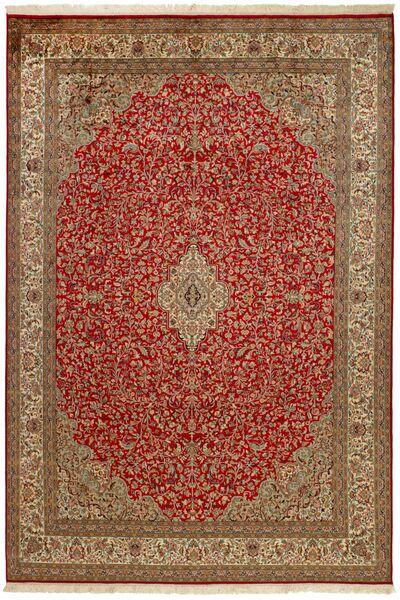 Kashmir Ren Silke Teppe 214X305 Ekte Orientalsk Håndknyttet Mørk Rød/Brun (Silke, India)
