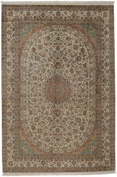 Kashmir Ren Silke Teppe 216X313 Ekte Orientalsk Håndknyttet Lys Grå/Brun (Silke, India)
