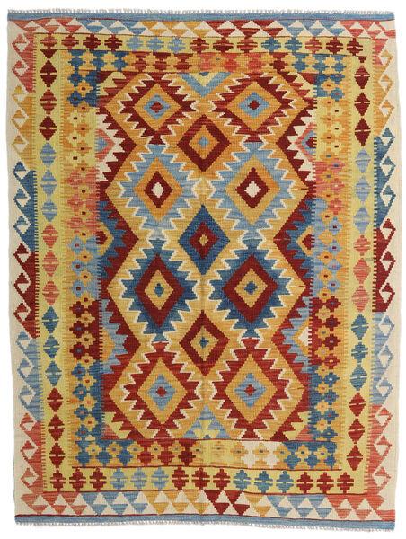 Kelim Afghan Old Style Teppe 154X200 Ekte Orientalsk Håndvevd Lysbrun/Mørk Rød (Ull, Afghanistan)