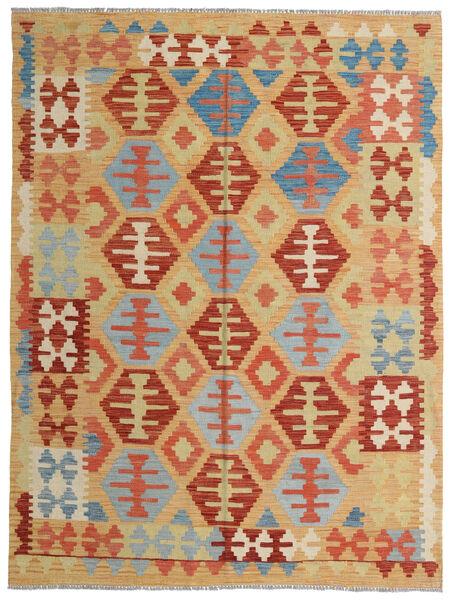 Kelim Afghan Old Style Teppe 150X198 Ekte Orientalsk Håndvevd Mørk Beige/Rød (Ull, Afghanistan)