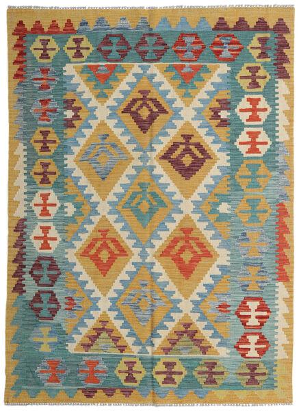 Kelim Afghan Old Style Teppe 149X206 Ekte Orientalsk Håndvevd Mørk Beige/Olivengrønn (Ull, Afghanistan)