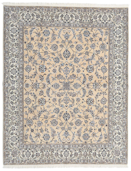 Nain 9La Teppe 203X253 Ekte Orientalsk Håndknyttet Lys Grå/Beige (Ull/Silke, Persia/Iran)