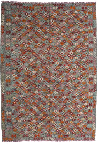 Kelim Afghan Old Style Teppe 208X295 Ekte Orientalsk Håndvevd Mørk Rød/Mørk Grå (Ull, Afghanistan)