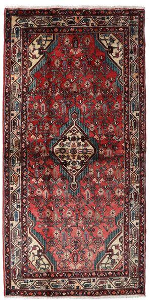 Hamadan Teppe 110X219 Ekte Orientalsk Håndknyttet Mørk Rød/Mørk Grå (Ull, Persia/Iran)