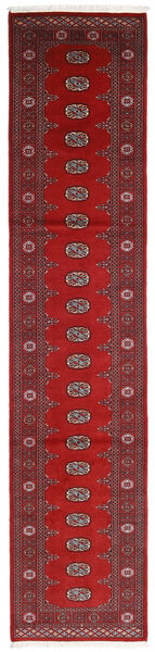 Pakistan Bokhara 2Ply Teppe 79X360 Ekte Orientalsk Håndknyttet Teppeløpere Mørk Rød/Rust (Ull, Pakistan)