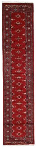 Pakistan Bokhara 3Ply Teppe 77X350 Ekte Orientalsk Håndknyttet Teppeløpere Mørk Rød/Rød (Ull, Pakistan)
