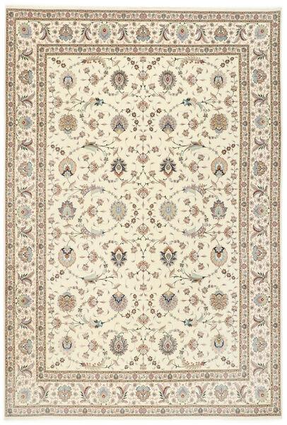 Tabriz 50 Raj Med Silke Teppe 250X352 Ekte Orientalsk Håndknyttet Lys Grå/Beige Stort (Ull/Silke, Persia/Iran)