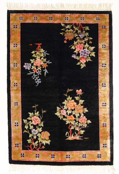 Kina Art Silke 120 Line Teppe 122X183 Ekte Orientalsk Håndknyttet Svart/Hvit/Creme ( Kina)