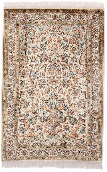 Kashmir Ren Silke Teppe 64X97 Ekte Orientalsk Håndknyttet Mørk Brun/Beige (Silke, India)