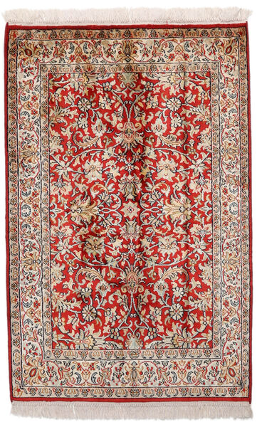 Kashmir Ren Silke Teppe 65X99 Ekte Orientalsk Håndknyttet Mørk Rød/Lys Grå (Silke, India)