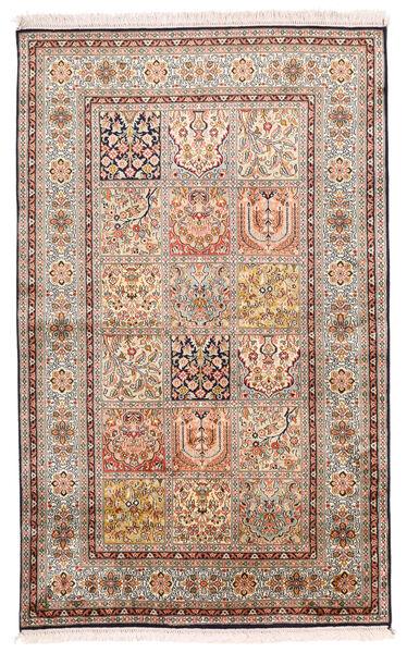 Kashmir Ren Silke Teppe 96X154 Ekte Orientalsk Håndknyttet Lys Grå/Mørk Brun (Silke, India)