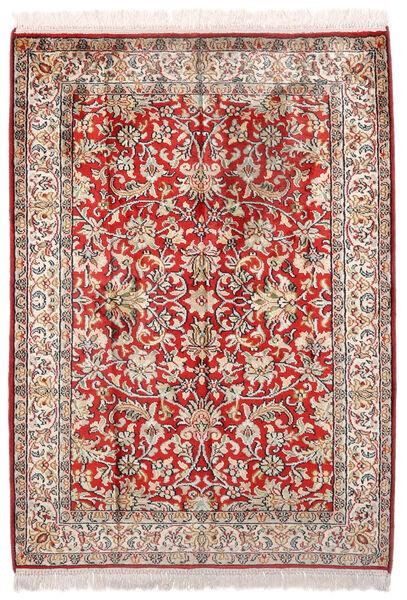 Kashmir Ren Silke Teppe 69X96 Ekte Orientalsk Håndknyttet Lys Grå/Lysbrun (Silke, India)
